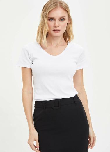 DeFacto V Yaka Basic Kısa Kollu T-shirt Beyaz